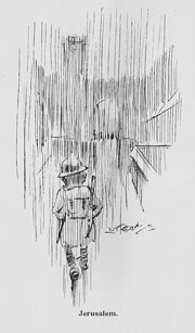back view of soldier walking dejectedly in the pouring rain