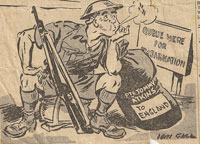 soldier whistling while he impatiently sits by his kitbag and rifle. The kitbag has a label 'private tommy atkins, to england.' nearby is a sign 'queue here for embarkation