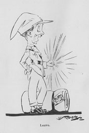 drawing of very happy soldier with kit, spinning a stick.